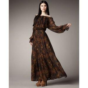 Rachel Zoe Peasant Off The Shoulder Peacock Dress